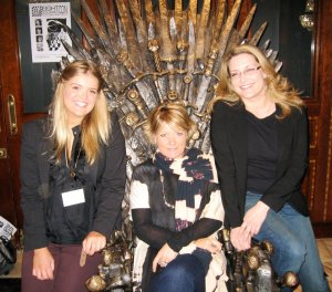 Jane on the Iron Throne with my Voyager editor Natasha Bardon and deputy publishing director, Emma Coode